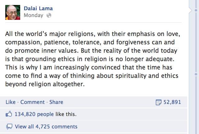Dalay Lamanın Facebook üzerinden paylaştığı mesaj